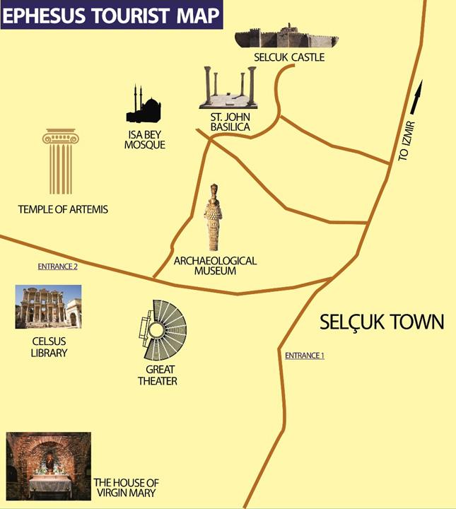 Full Day Ephesus Tour Map