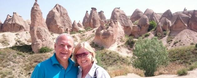 Couple visiting Cappadocia