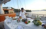 Cruise cheif prepares wonderful breakfast in Bodrum gulet cruise