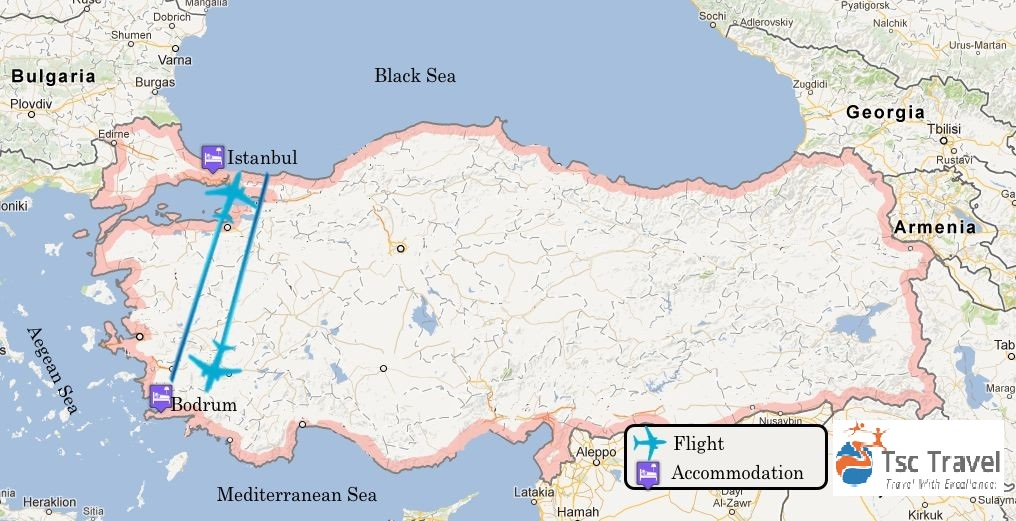 Wonders of Turkey Tour Map